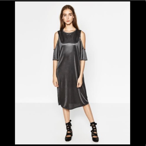 NWT ZARA Metallic Grey Cold Shoulder Shirt Dress 0cd81cfa8